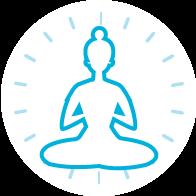 Yoga icon in Sky blue colour